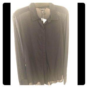 BNWT! Rock & Republic Sheer Black Button-up Shirt